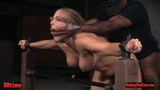 Restrained Bdsm Sweetie Spitting Roasted