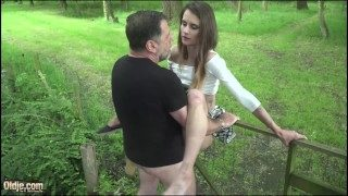 Old Guy Brutal Fucking Girl Fucks Her Pussy and Mouth
